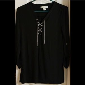 MICHAEL KORS 3/4 sleeve tunic top w/gold chains